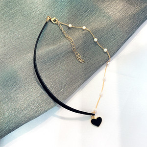 2020 New Short Pearl Necklace Neck Jewelry Clavicle Chain Female Love Pendant Choker Necklace Net Red Collar Neckband Trendy