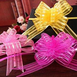La cinta de organza 10pcs Tire fiesta de la boda arcos cintas Flor envolturas de coche de la decoración DIY del regalo de boda de decoración de interior Tire flor wmtXmu