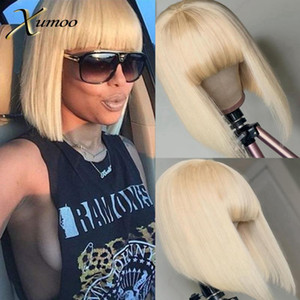 XUMOO Short Bob Blonde Lace Front Wig With Bangs Remy Human Hair Wigs Full Machine Made Wig Straight 613 Lace Wigs For Women