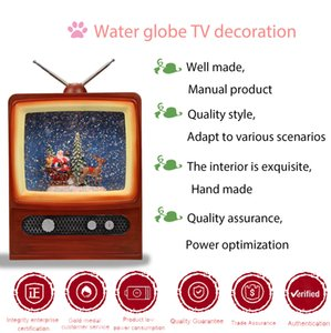 Operated Battery Gifts Vintage Claus Santa TV Interior 2020 Christmas Decoration Supplies Plastic Custom Snow Globe