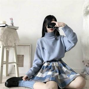 Merry Pretty Spring peça feminina set azul camisola e xadrez saia paixão 2 peças roupas mulheres combinando C1103