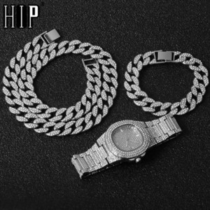 Gold Necklace +Watch+Bracelet Hip Hop Miami Curb Cuban Chain Gold Iced Out Paved Rhinestones CZ Bling For Men JewelryQ0115