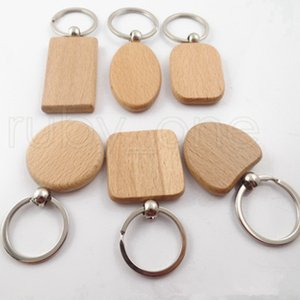 Creative DIY Wooden Keychain Key Chains Round Square Rectangle Shape Blank Wood Key Rings Key Holders Gifts Party Favor 13styles RRA3793