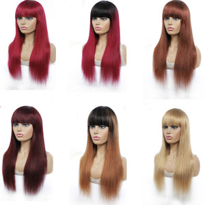 Omber Brown Brazilian Straight Human Hair Wigs With Bangs Full Machine Made Wigs For Black Women Non Lace Human Hair Wigs