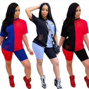 Color Patchwork Two Piece Set Tracksuit Women Summer Clothes O Neck Short Sleeve T Shirt Top and Shorts Suit Lounge Wear Outfits