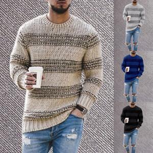 Hombre de rayas suéteres del suéter casual de manga larga otoño Prendas de punto Hombre Moda cuello redondo de ropa