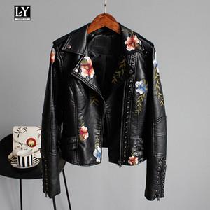 Ly Varey Lin imprimé floral broderie Faux cuir souple Veste femme Pu Manteau Moto Femme Noir Punk Zipper Rivet OuterwearX1016