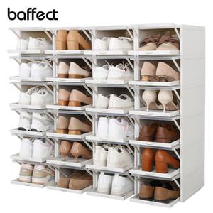 Baffect 2pcs / lot de los zapatos de cajas apilables cajas de zapatos zapatos zapatero plástico Organizador de los tacones altos zapatillas de almacenaje de los zapatos cajones 201109