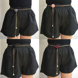 Fashion Women Waist Chains Flower Pearl Thin Waistband Slim Metal Girdle Classic Decorative Dress Pants Waist Chain Female Belts