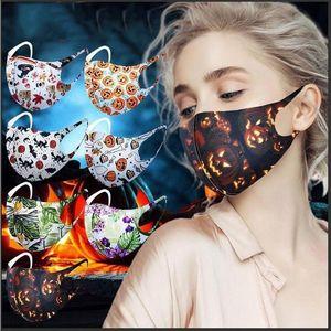 2021 얼굴 마스크 할로윈 성인 크리스마스 파티 마스크 마스크 3D 인쇄 방진 통기성 빨 호박 패션 Earloop 마스크