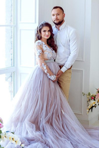 Lavender Country A Line Wedding Dresses Long Sleeves 3D Floral Appliques Maternity Bridal Gowns Plus Size Bridal Gowns Beach robe