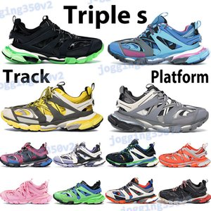 Moda üçlü ler rahat ayakkabı erkekler platformu spor ayakkabısı mavi siyah kırmızı bordo pembe, sarı, mor, beyaz, gri, turuncu kadın eğitmenler runner Track