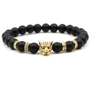 Bracelet Beaded Personality Fashion Handmade Matte 2019 Stone Mens Charm Jewelry Natural Black Head Leopard tsetxyv whole2019