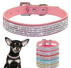Bling Diamante Rhinestone PU cuero cuero collares de perro rosa para pequeños perros medios Chihuahua Yorkie 5 Col Qylnji Comb2010