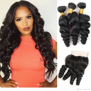 Brazilian Loose Wave Bundles With Closure 100% Human Hair Weave 3 Bundles With Closure Loose Deep Wave Bundles With Closure