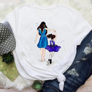 Women Mom Daughter Girl Watercolor Trend Style Mama Cartoon Mother Graphic Tees Clothes Print Tops Lady Female T Shirt T Shirt