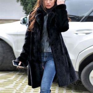 Женский меховой меховой воротник воротник мода женские женские теплые искусственные меховые пальто куртки зима V-образным вырезом твердой длинной верхней одежды зима плюс размер1