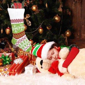 New Knitted Christmas Stocking Retro Lovely Christmas Socks Ornaments Santa Claus Santa Sack Candy Bag Noel Xmas Candy Gift Bags