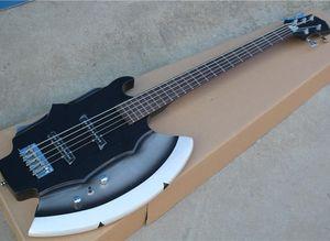 Black 5 Strings Ax E-Bass mit 2 Pickups, Palisander Griffbrett, Chrome Hardware, sein kann als Antrag Customized