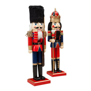 Wooden Crafts 38CM Fine Nutcracker Soldier Shape Puppet Christmas Gift Decoration