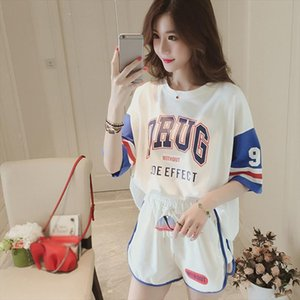2019 New Casual Sporting Womens Sets O Neck Letter Print Pullovers Short Sleeve T shirt Loose Solid Shorts