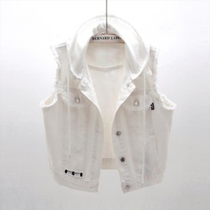 White Hooded Denim Womens Vest Autumn Veste Femme Casual Short Sleeveless Jeans Jackets Coats Single breasted Colete Feminino
