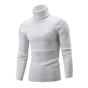 2020 Мужчина Осень Зима свитер Сплошного цвета взрослых с длинным рукавом Высокого воротник Twisted основывая трикотажный пуловер Теплого Turtelneck