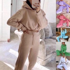 Women Autumn Hoodies Women Two Piece Set Solid Oversized Tracksuits Winter Thick Warm Hooded Sweatshirt Jogger Pants Suit