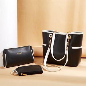 2020 Luxurys Конструкторы сумки весна Элегантный женщин сумка Простые All-Matching Женская сумка Три-Piece Set Доступный мягкий кожаный Mes