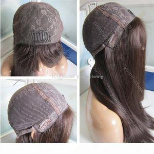 FINE MONGOLIAN PELO KOSHER WIG Seda recta color marrón Virgin Pelo humano Base de seda Peluca judía para mujeres blancas Envío gratis