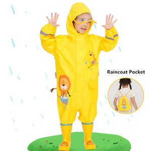 2-7years модные дети плащ дети мальчики девушки водонепроницаемый комбинезон с капюшоном цельный мультфильм динозавр детская дождевая одежда и брюки