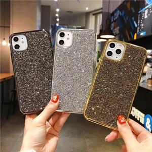 럭셔리 패션 풀 블링 크리스탈 라인 석 다이아몬드 부드러운 전기 도금 케이스 커버 아이폰 12 미니 11 Pro XS Max XR x 8 7 6 6S Plus SE