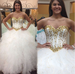 New Puffy Ball Gown Crystals Quinceanera Dresses 2021 Ruffles Sweetheart Corset Tight Plus Size 15 Brithday Prom Party Gowns Sweet 16 Dress