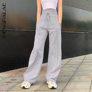 Shengpalae Mode Vintage Patchwork Joggers Sweatpants Harajuku Frau Hosen Elastics Hohe Taille Graue Hose ZA4491 201111