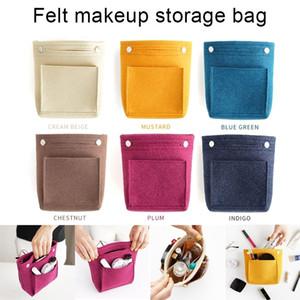 New Women Portable Makeup Bag Felt Fabric Insert Handbag Cosmetics Organizer Trousse Maquillage Femme Neceser Maquillaje Y200714