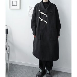 Designer Wind Ox Horn Button Decorative Oblique Cardigan Windbreaker Men's Loose Profile Woolen Coat
