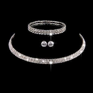 Wedding Jewelry Sets Bridal Crystal Rhinestone Bracelet Earrings and Necklace Set Jewellery Sets for Women Fashion Girls
