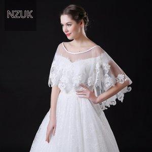 NZUK haute qualité pointillé Tulle courte Capo de mariage avec ourlet en dentelle blanc vestes de mariée enveloppes sur mesure