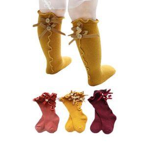 Children Solid Color Socks Baby Summer Bow Wooden Ear Lace Children Socks Soft Infant Designer Socks 10 Colors