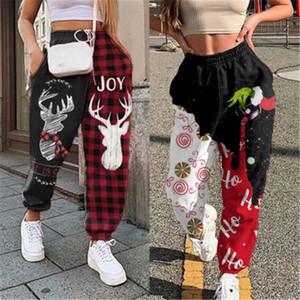 Bayanlar Elk Desen Pantolon Moda Trend Noel Yüksek Bel Fleece Spor Pantolon Tasarımcı Sonbahar Kadın Yeni Casual Gevşek İpli Pantolon