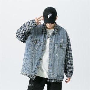 Erkekler Denim Streetwear Tasarımcı M-5XL Büyük Boy Dış Giyim 1113 için Yanlış İki Jeans Ceketler ve Coats Patchwork Ekose Kol ceket mens