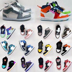 2020 Nike air jordan 1 Kid Basketball Shoes Niños Zapatos Juego Real Scotts Obsidiana Chicago Bred zapatillas de deporte de la melodía del medio multicolor anudado para niños