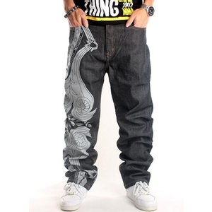 2020 Mens Baggy Jeans Men Wide Leg Denim Pants Hip Hop New Fashion Embroidery Skateboarder Jeans Free Shipping