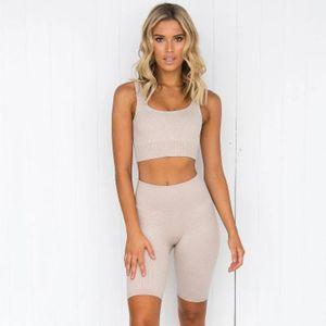 Roupas de ioga 2 pçs / set sets mulheres shorts sem costura cintura alta cintura calças esportivas ao ar livre leggings gym set