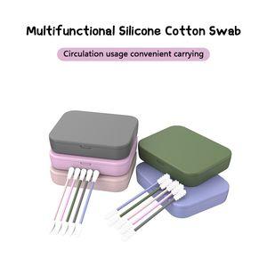 Wiederverwendbare Baumwolltupfer Ear Reinigung kosmetische Silikon Knospen Tupfer-Sticks für die Reinigung Make-up Ausbesserungen Doppelkopf GGB1135