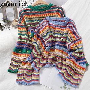Gagarich Women Christmas suéter otoño dulce multicolor Stripe Stripe Pullover O-cuello Slim Hollow Korean-Style Hergeted Tops 201016