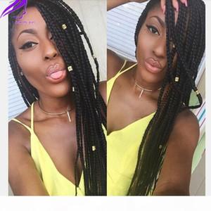Uzun Örgülü Saç Sentetik Dantel Ön Peruk El Yapımı Koleksiyonu Örgülü Peruk Ile Bebek Saç Kutusu Örgüler Siyah Kadınlar Için