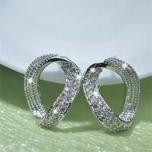 Women Earrings Couple Wedding Earrings Silver Plated Cubic Zirconia Fashion Geometric Jewelry Give Girl Birthday Gift1