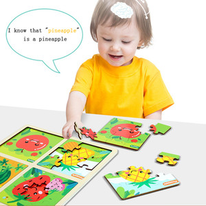 Jigsaw toy children's cartoon marine life fruit puzzle educational toy early childhood baby wooden toy, unit price 7.51 US dollars