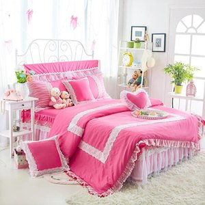 Princess Duvet Cover Set Embroidery Bedding Four-piece Bed Linen Lace Ruffle Bedskirt for 1.2m 1.5m 1.8m 2m Bed Solid Color #129